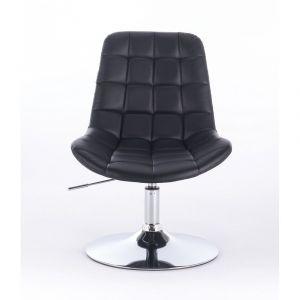 Židle PARIS na kulaté stříbrné podstavě - černá
