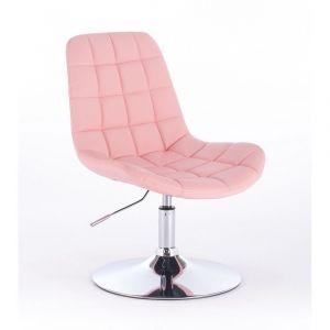 Židle PARIS na kulaté stříbrné podstavě - růžová