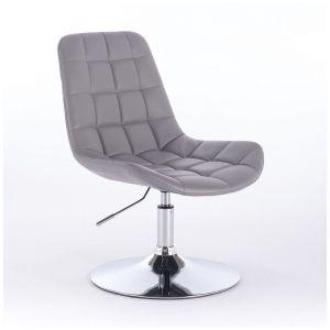 Židle PARIS na kulaté stříbrné podstavě - šedá