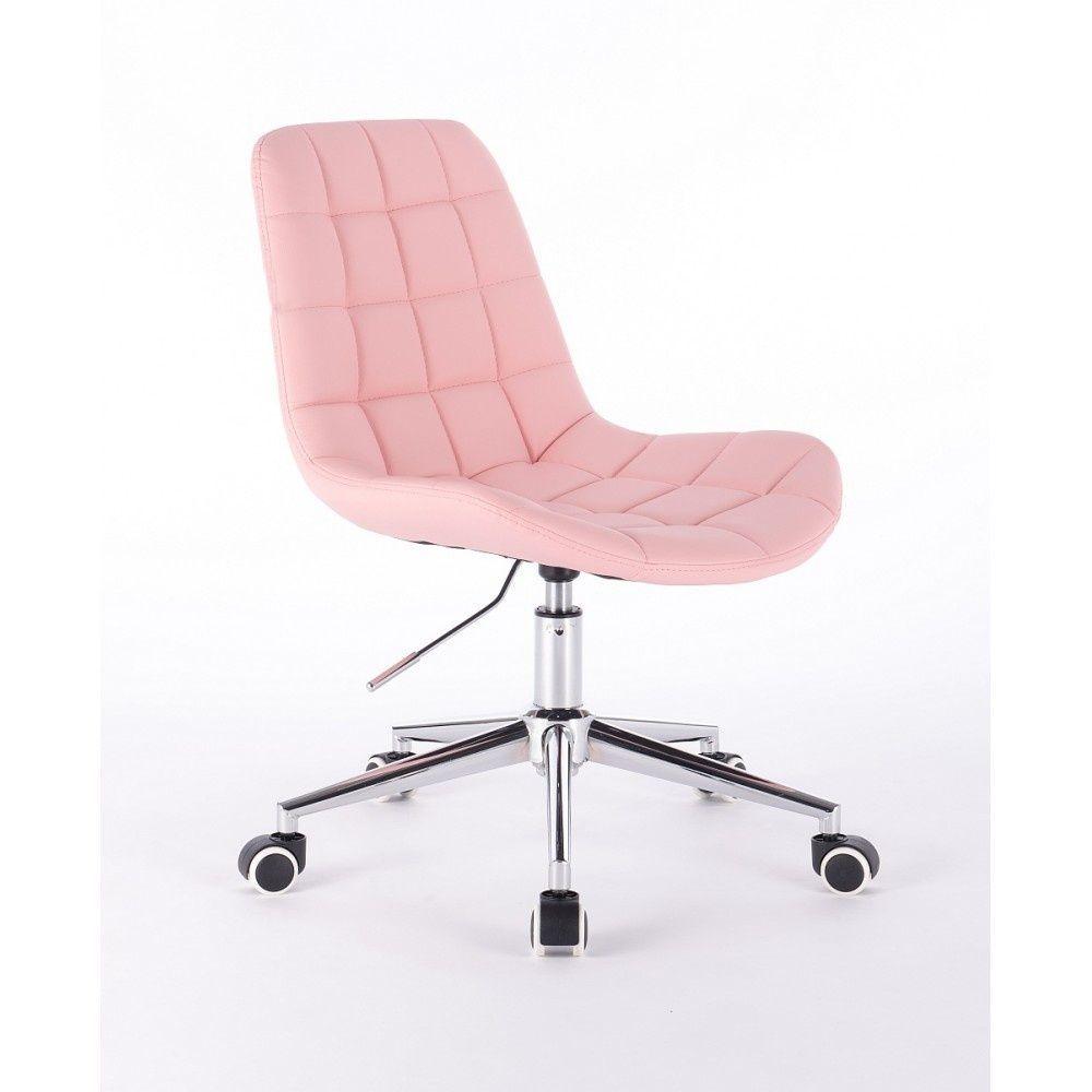 Židle PARIS na podstavě s kolečky růžová