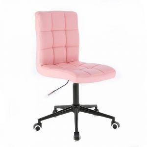 Židle TOLEDO na černé podstavě s kolečky - růžová