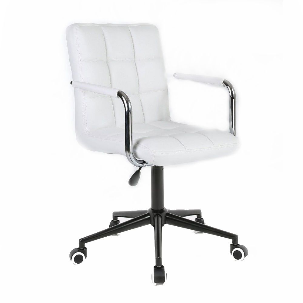 Židle VERONA na černé podstavě s kolečky - bílá