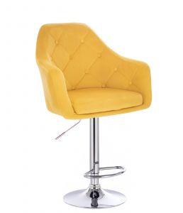 Barová židle ANDORA VELUR na stříbrném talíři - žlutá