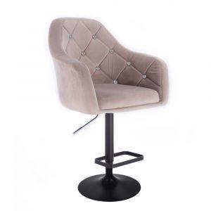 Barová židle ROMA VELUR na černém talíři - světle šedá