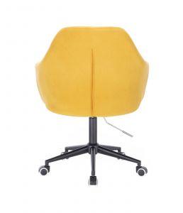 Kosmetické křeslo ANDORA VELUR na černé podstavě s kolečky - žluté