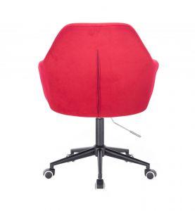 Kosmetické křeslo ANDORA VELUR na černé podstavě s kolečky - červené