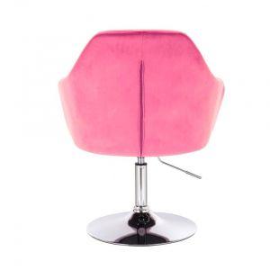 Kosmetické křeslo ANDORA VELUR na stříbrném talíři - růžové