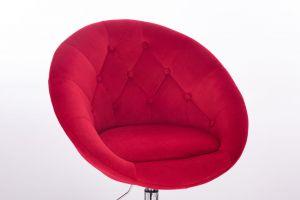 Kosmetické křeslo VERA VELUR na stříbrné podstavě s kolečky - červené