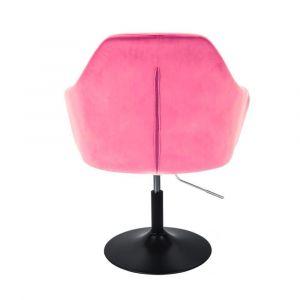 Křeslo ANDORA VELUR na černém talíři - růžové