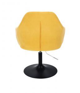 Křeslo ANDORA VELUR na černém talíři - žluté