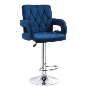 Barová židle  BOSTON VELUR na stříbrném talíři - modrá