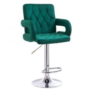 Barová židle  BOSTON VELUR na stříbrném talíři - zelená