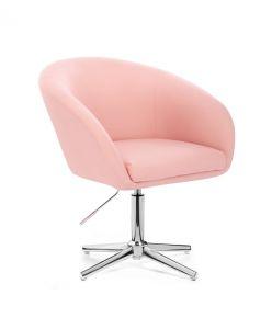 Kosmetická židle VENICE na stříbrném kříži - růžová