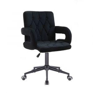 Židle BOSTON VELUR na černé podstavě s kolečky - černá