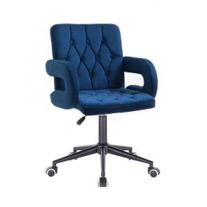 Židle  BOSTON VELUR na černé podstavě s kolečky -  modrá