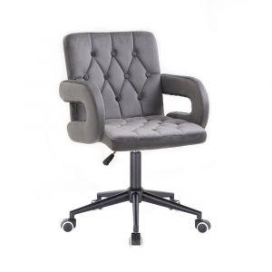 Židle  BOSTON VELUR na černé podstavě s kolečky - šedá