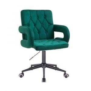 Židle  BOSTON VELUR na černé podstavě s kolečky - zelená