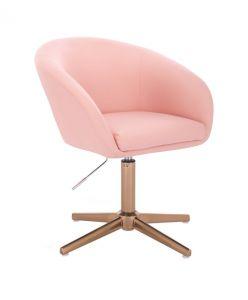 Židle VENICE na zlatém kříži - růžová