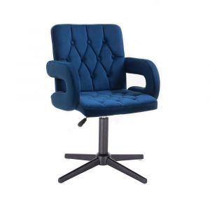 Židle BOSTON VELUR na černém kříži - modrá