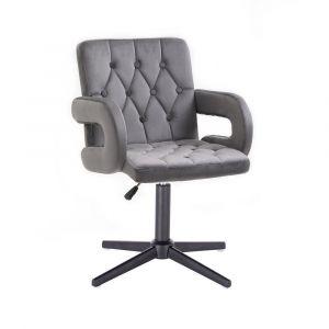 Židle BOSTON VELUR na černém kříži - šedá