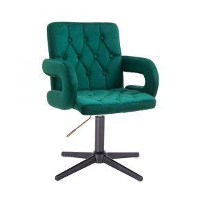 Židle BOSTON VELUR na černém kříži - zelená