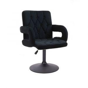 Židle BOSTON VELUR na černém talíři - černá