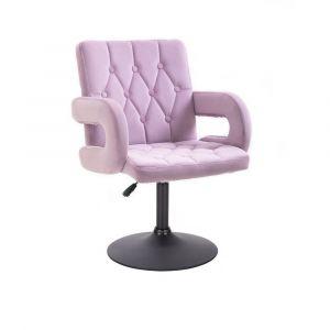 Židle BOSTON VELUR na černém talíři - fialový vřes