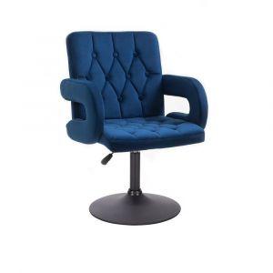 Židle BOSTON VELUR na černém talíři - modrá