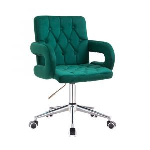 Židle BOSTON VELUR na stříbrné podstavě s kolečky - zelená
