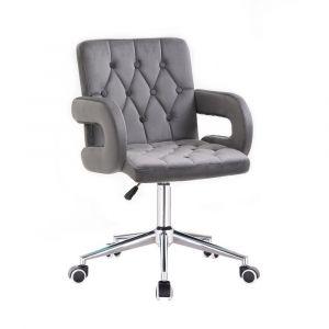 Židle BOSTON VELUR na stříbrné podstavě s kolečky - šedá