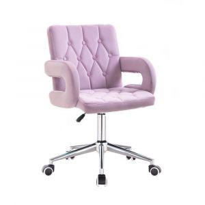 Židle BOSTON VELUR na stříbrné podstavě s kolečky - fialový vřes