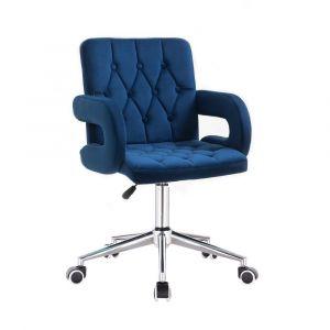 Židle BOSTON VELUR na stříbrné podstavě s kolečky - modrá