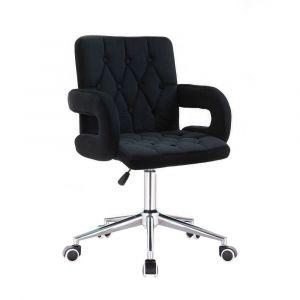 Židle BOSTON VELUR na stříbrné podstavě s kolečky - černá