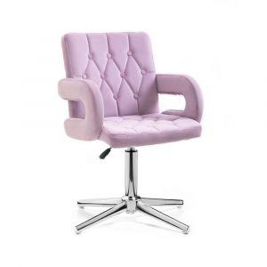 Židle BOSTON VELUR na stříbrném kříži - fialový vřes