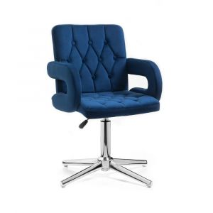 Židle BOSTON VELUR na stříbrném kříži - modrá