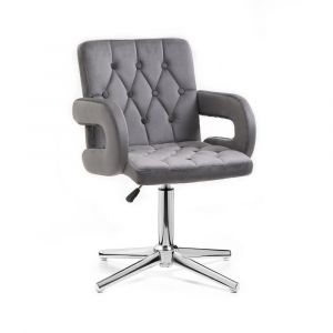 Židle BOSTON VELUR na stříbrném kříži - šedá