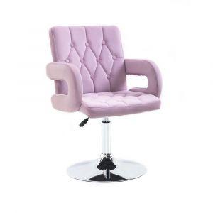 Židle BOSTON VELUR na stříbrném talíři - fialový vřes