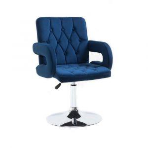 Židle BOSTON VELUR na stříbrném talíři - modrá
