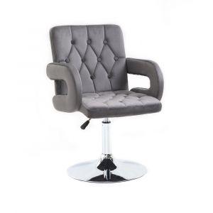 Židle BOSTON VELUR na stříbrném talíři - šedá