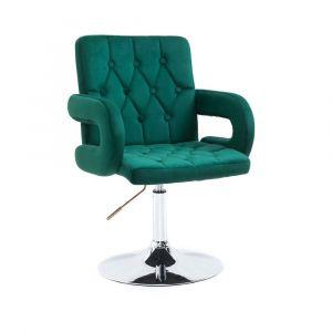 Židle BOSTON VELUR na stříbrném talíři - zelená
