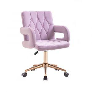 Židle BOSTON VELUR na zlaté základně s kolečky - fialový vřes