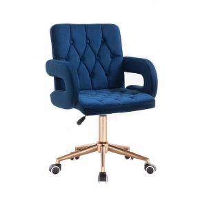 Židle BOSTON VELUR na zlaté základně s kolečky - modrá