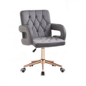 Židle BOSTON VELUR na zlaté základně s kolečky - šedá
