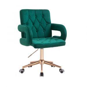 Židle BOSTON VELUR na zlaté základně s kolečky - zelená