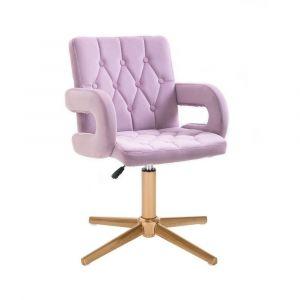 Židle BOSTON VELUR na zlatém kříži - fialový vřes
