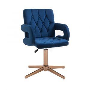 Židle BOSTON VELUR na zlatém kříži - modrá