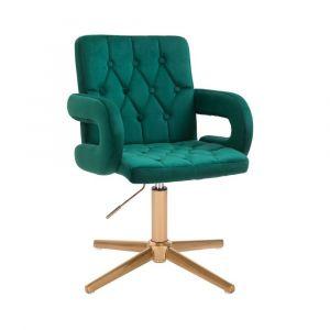Židle BOSTON VELUR na zlatém kříži - zelená