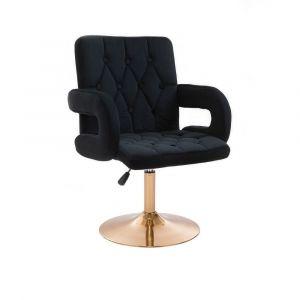 Židle BOSTON VELUR na zlatém talíři - černá