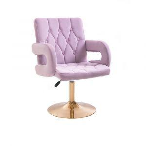 Židle BOSTON VELUR na zlatém talíři - fialový vřes