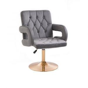 Židle BOSTON VELUR na zlatém talíři - šedá